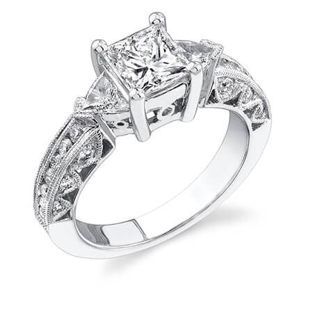 18KW 3-Stone Princess Ring