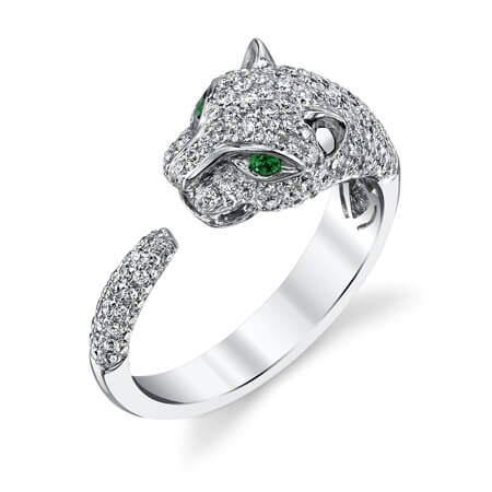 18KW Diamond & Emerald Panther Ring