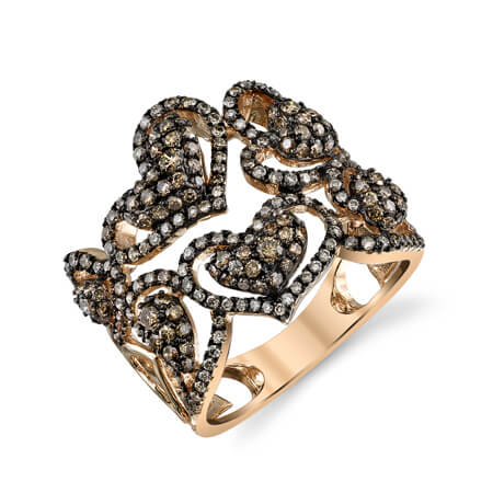 18KRB B&W Diamond Hearts Ring