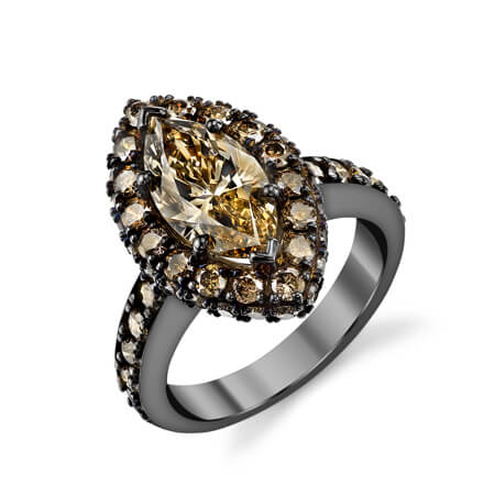 14KB Cognac Diamond Ring