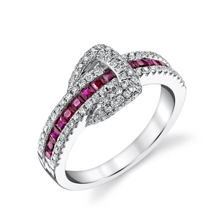 18KW Diamond Ruby Ring