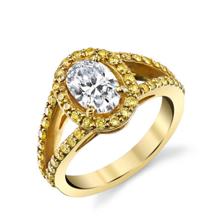 18KY Canary with Oval Diamond Ring
