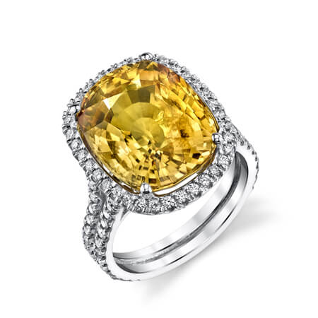 18KW Diamond Citrine Ring